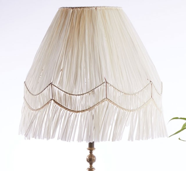 Reclaimed vintage lampshade knotted with white raffia