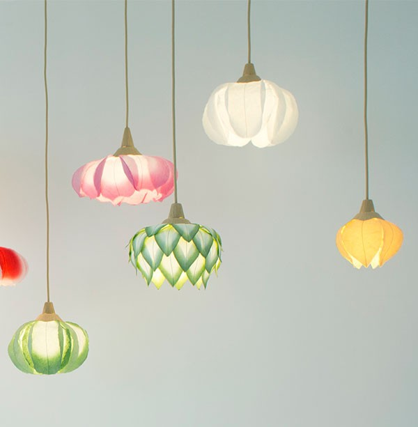 Washi paper flower lights by Sachie Muramatsu