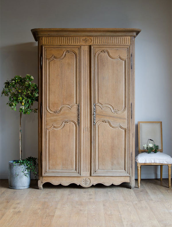 18th Century French Antique Light Oak Armoire