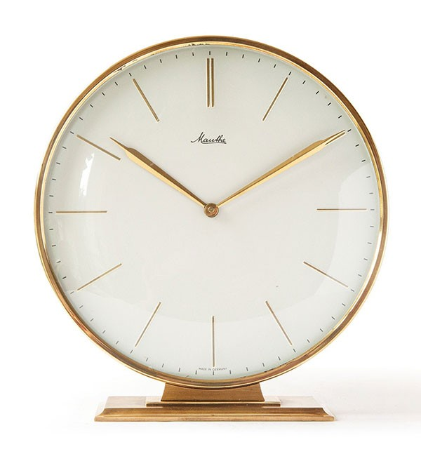 1950s Vintage Mauthe brass desk clock