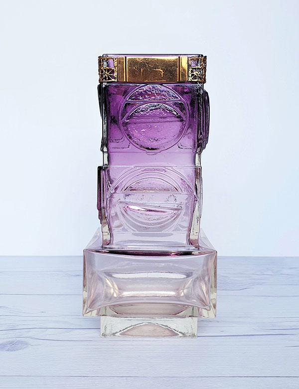 1970s purple vintage glass vase by Pentti Sarpaneva