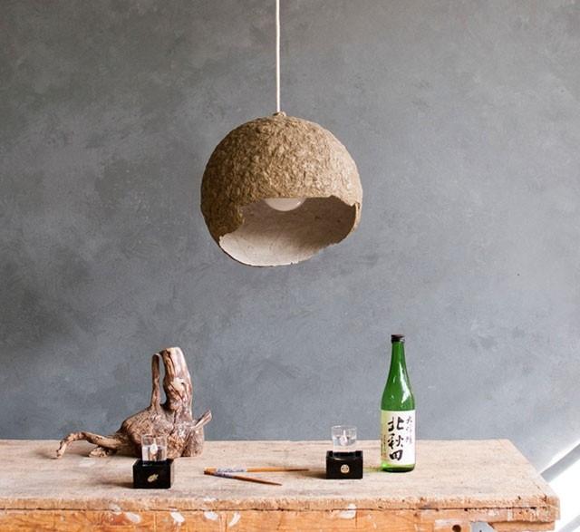 Globe medium paper maché pendant lamp