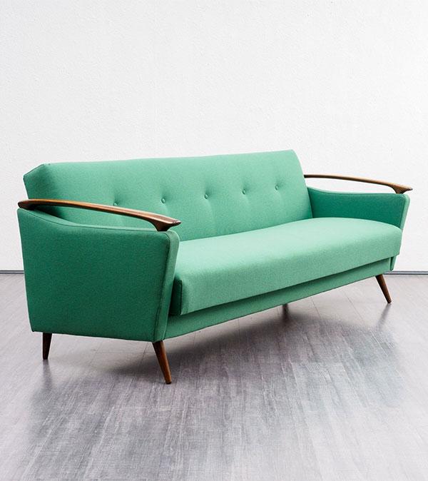 Green 1950s vintage sofa