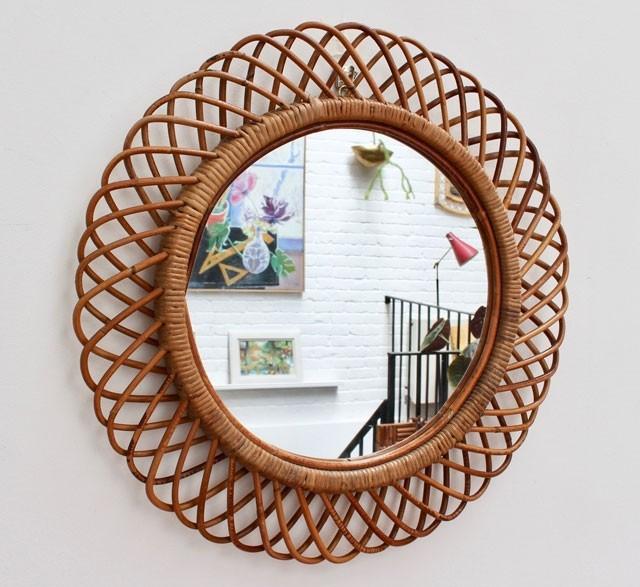 Mid-century Italian vintage rattan mirror