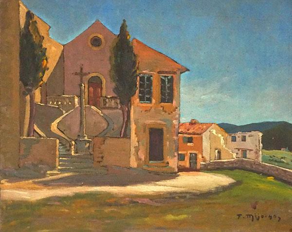 Original signed vintage 1940s Provencal landscape painting