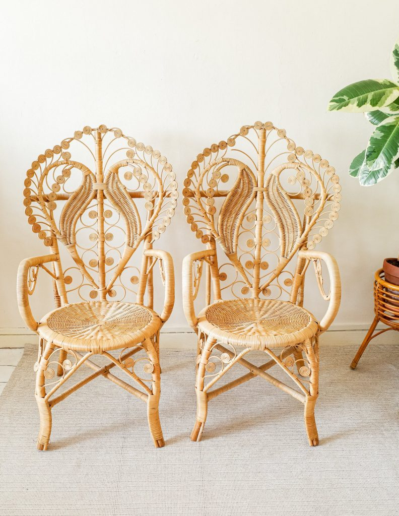 Rattan vintage home decor from Etsy