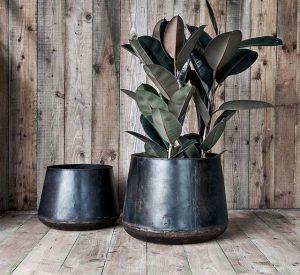 Recycled metal planter by Nkuku