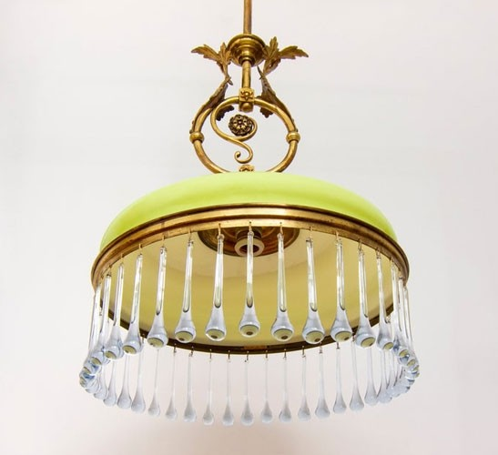Vintage 1930s lime green chandelier