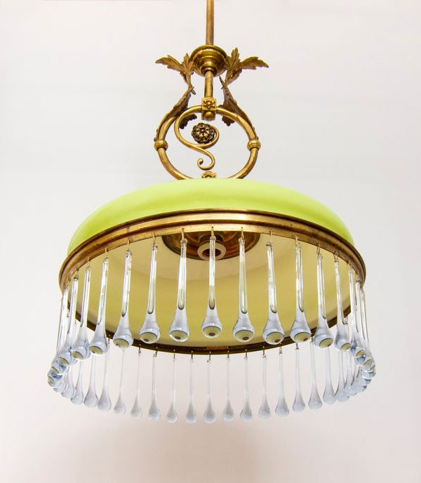 Vintage 1930s lime green gold and blue opaline chandelier