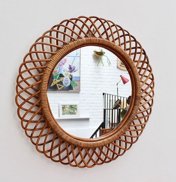 Vintage 1960s mid-century round rattan mirror