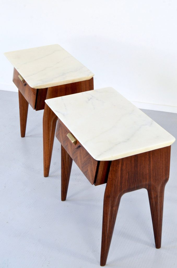 Vintage midcentury Italian rosewood and marble bedside tables