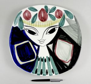 Midcentury vintage plate by INGER WAAGE for Stavangerflint