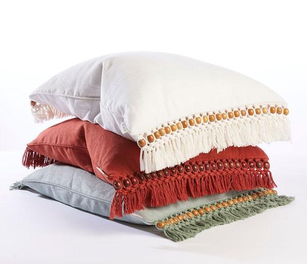 Beaded fringed cushions