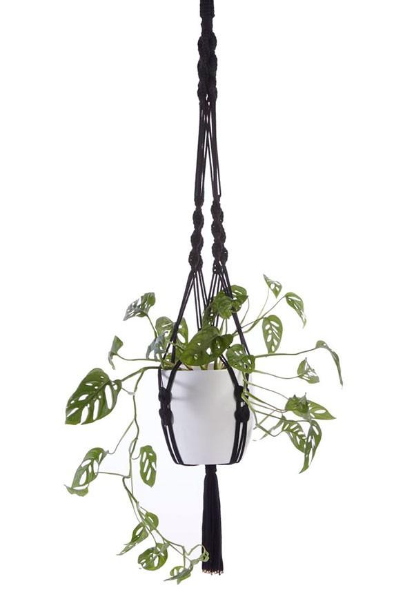 Black recycled cotton macrame plant hanger