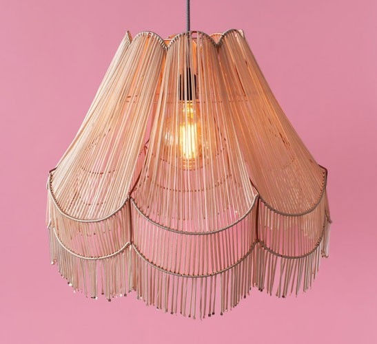 Nude fringed lampshade
