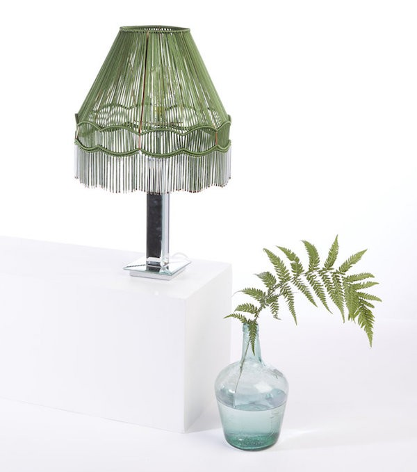 Upcycled vintage lampshade reworked with green yarn