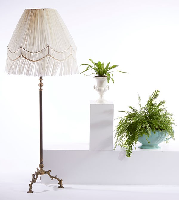 Vintage lampshade upcycled with white paper raffia