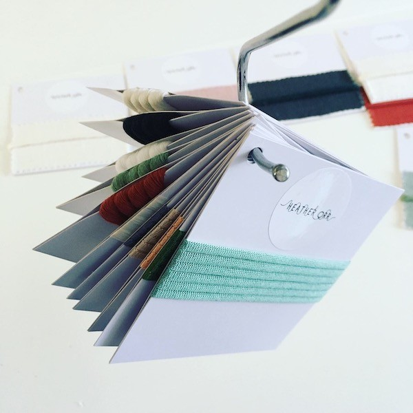 Yarn colour swatches