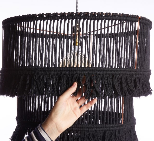 Three tier black fringed chandelier made from recycled cotton