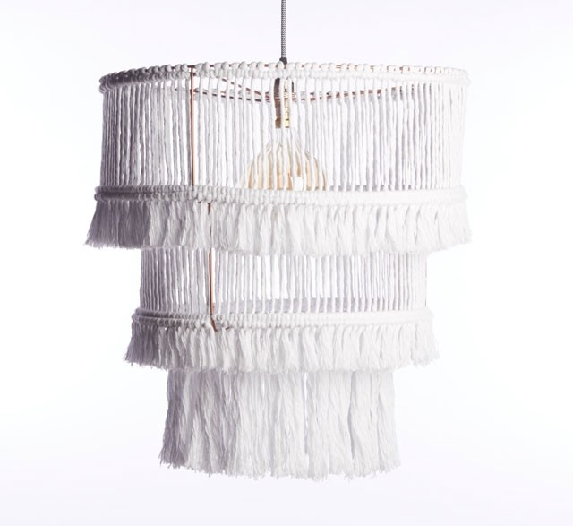 Three tier white fringed chandelier made from recycled cotton