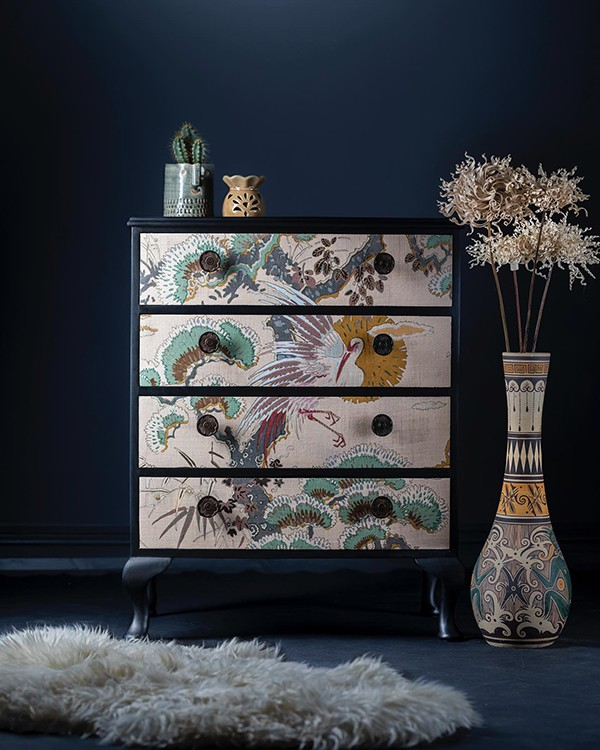 1930s vintage chest of drawers upcycled Japanese garden print