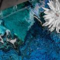 Detail of acrylic epoxy upcycled coffee table