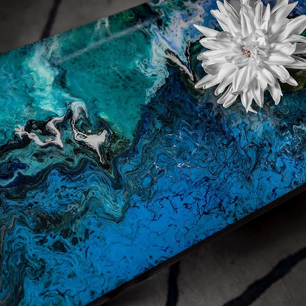 Marbled blue acrylic coffee table