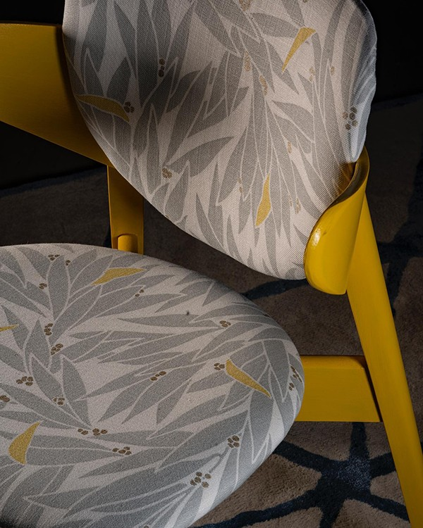 Yellow upcycled retro vintage chair