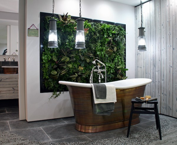 Bathroom with living wall