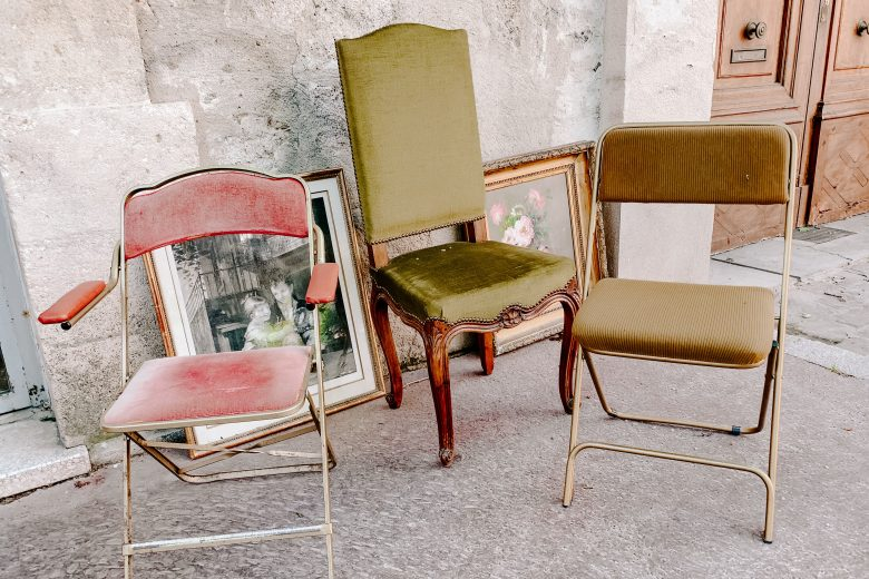 vintage chairs on the street