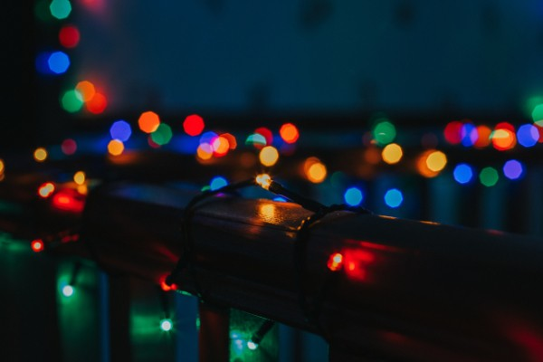 Fairy lights wrapped around a balcony