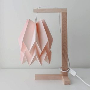 pink paper and wood origami table lamp