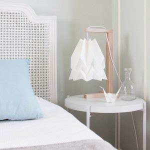 white paper origami bedside lamp