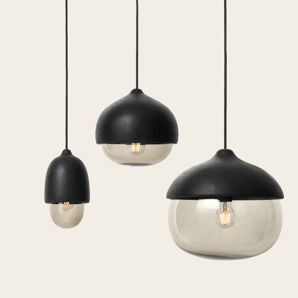 Black wood Terho hanging lights by Mater