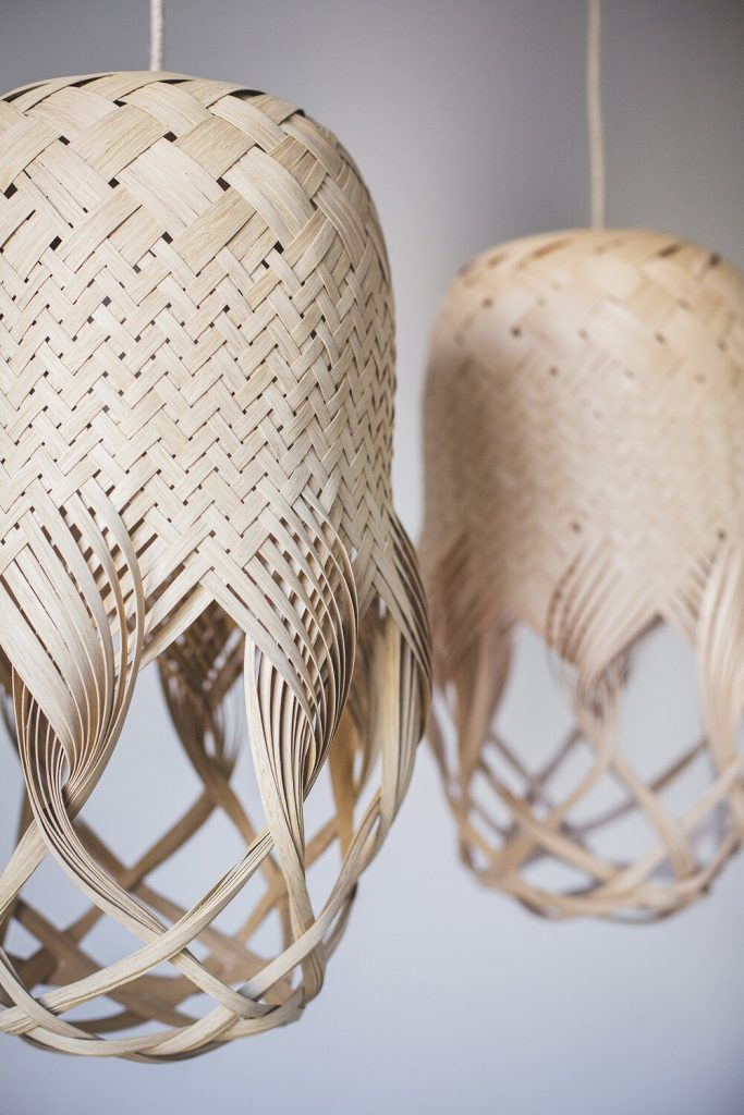 Louise Tucker woven wood lights