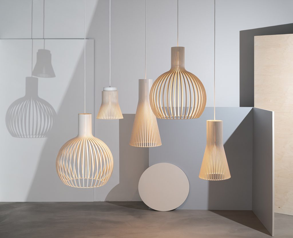 Natural birch pendant lights by Secto