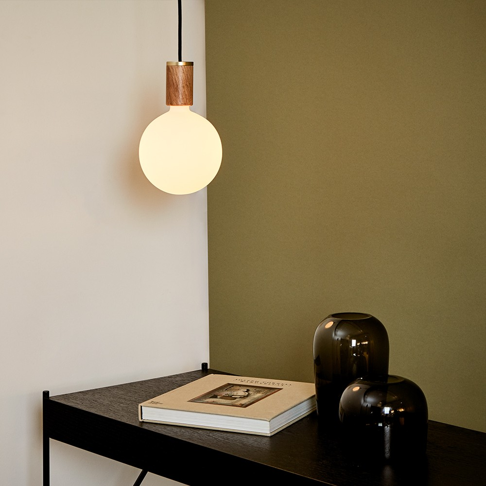 Sphere IV oak wood pendant light by Tala