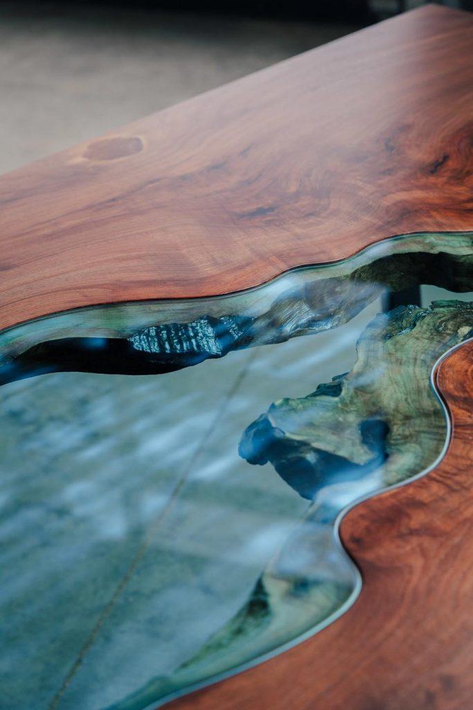 Detail of reclaimed wood dining table by Greg Klassen