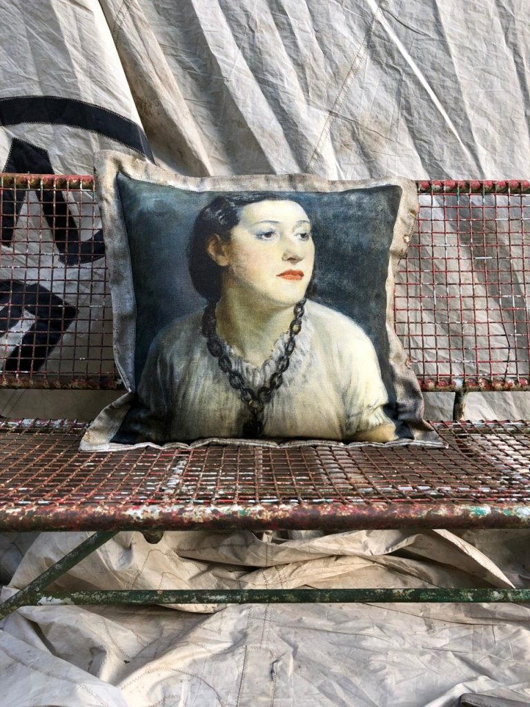 Vintage painting printed onto a cushion by Swarm