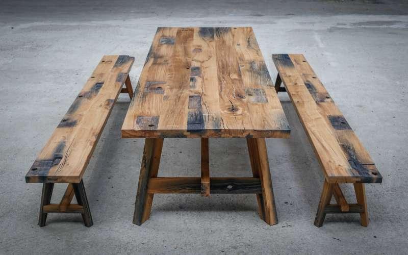 Reclaimed oak canal gate table by Jan Hendzel
