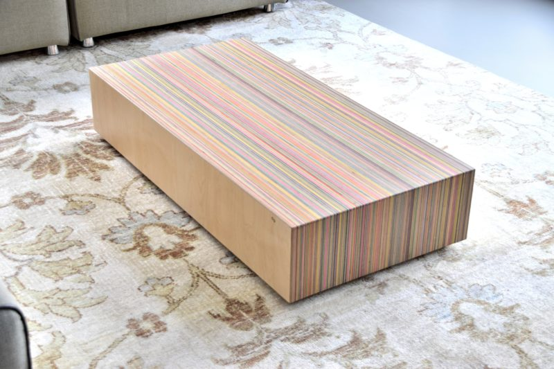 Coffee table made from skateboard decks