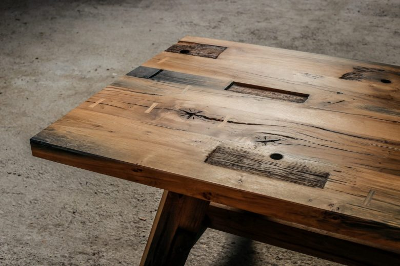 Reclaimed oak canal gate table by Jan Hendzel