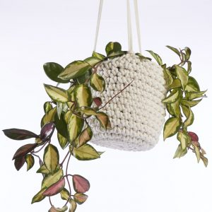 Hand-crocheted hanging plant pot by Heather Orr