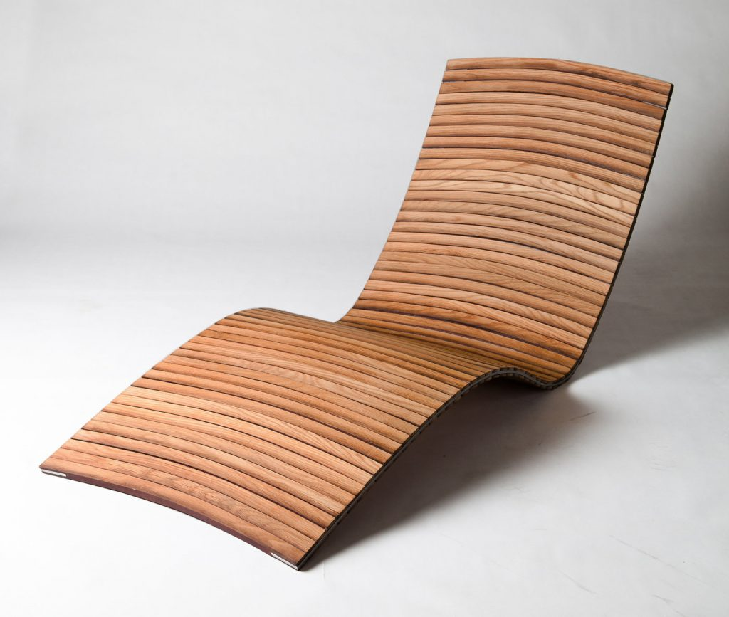 Lounger upcycled from an oak barrel by Kieran Ball