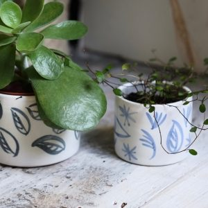 blue and white painted ceramic plant pots