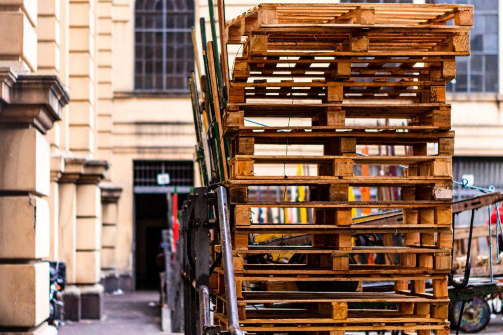 Stack of scrap pallet wood