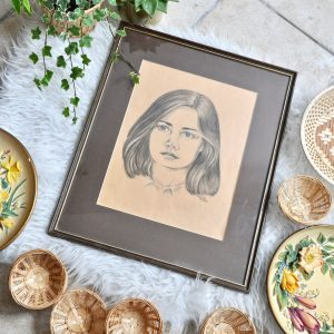 vintage drawing of a girl