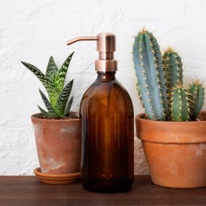 Amber glass soap dispenser eco friendly kitchen products