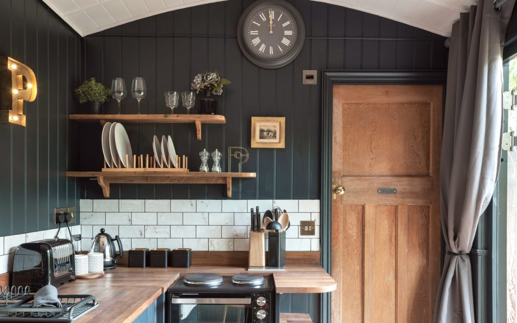 Shepherd's Hut kitchen interior