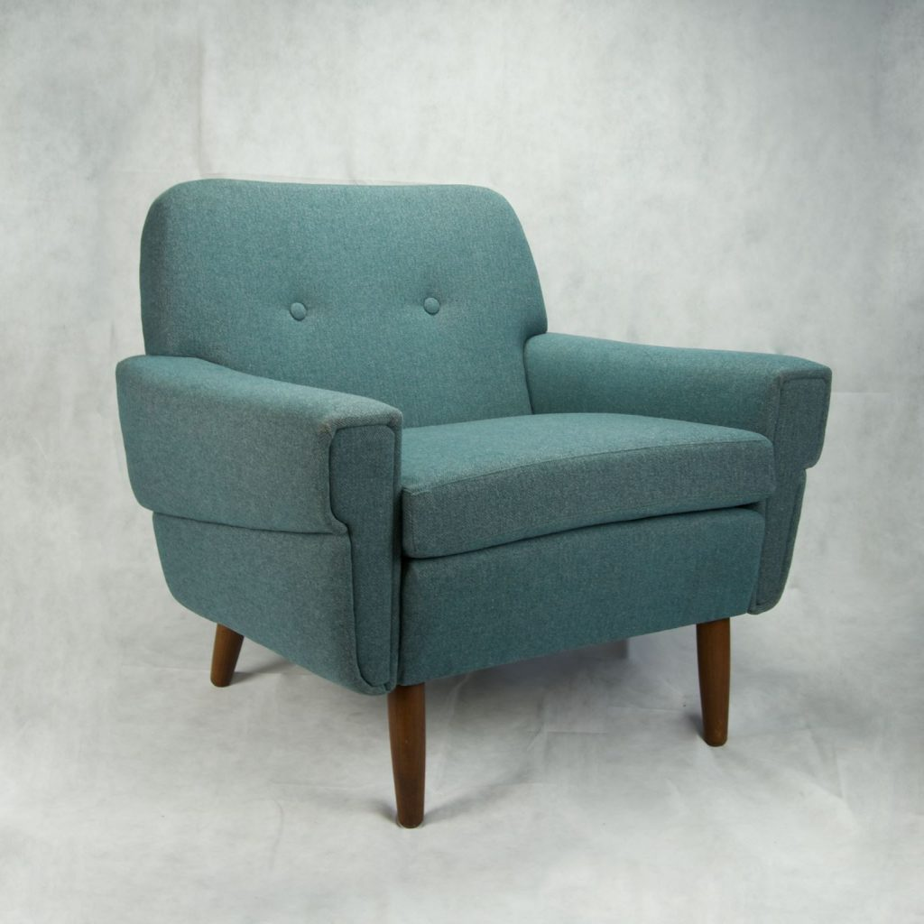 Blue vintage armchair by upholsterer Dawn Crabtree
